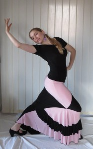 Sukně na flamenco Mariana černá, starorůžová
